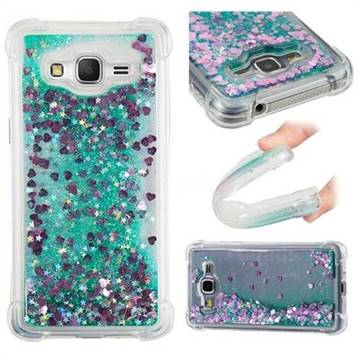 Dynamic Liquid Glitter Sand Quicksand TPU Case for Samsung Galaxy Grand Prime G530 - Green Love Heart