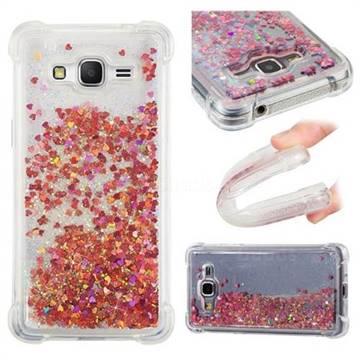 Dynamic Liquid Glitter Sand Quicksand TPU Case for Samsung Galaxy Grand Prime G530 - Rose Gold Love Heart