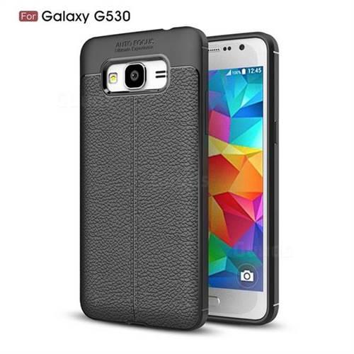 Luxury Auto Focus Litchi Texture Silicone TPU Back Cover for Samsung Galaxy Grand Prime G530 - Black