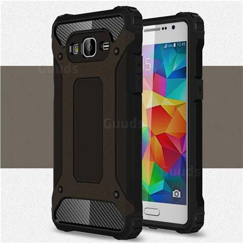 King Kong Armor Premium Shockproof Dual Layer Rugged Hard Cover for Samsung Galaxy Grand Prime G530 - Black Gold