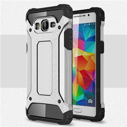 King Kong Armor Premium Shockproof Dual Layer Rugged Hard Cover for Samsung Galaxy Grand Prime G530 - Technology Silver