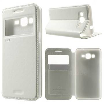 Roar Korea Noble View Leather Flip Cover for Samsung Galaxy Grand Prime G530 G530H - White