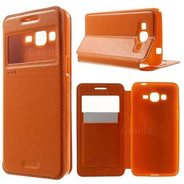 Roar Korea Noble View Leather Flip Cover for Samsung Galaxy Grand Prime G530 G530H - Orange