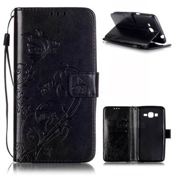 Embossing Butterfly Flower Leather Wallet Case for Samsung Galaxy Grand Prime G530 - Black