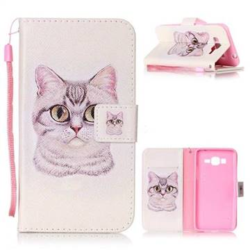 Lovely Cat Leather Wallet Phone Case for Samsung Grand Prime G530
