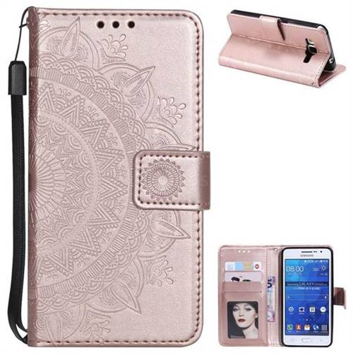 Intricate Embossing Datura Leather Wallet Case for Samsung Galaxy Grand Prime G530 - Rose Gold