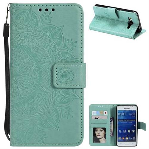 Intricate Embossing Datura Leather Wallet Case for Samsung Galaxy Grand Prime G530 - Mint Green