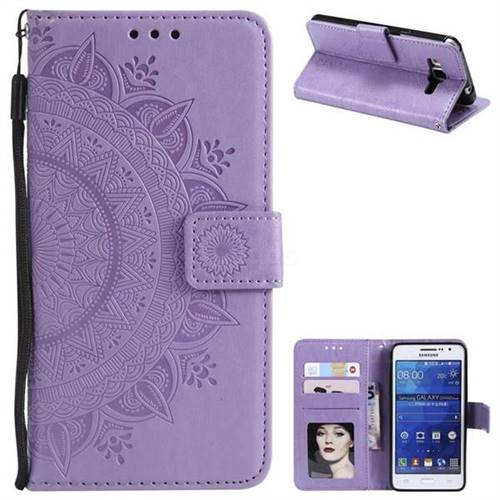 Intricate Embossing Datura Leather Wallet Case for Samsung Galaxy Grand Prime G530 - Purple