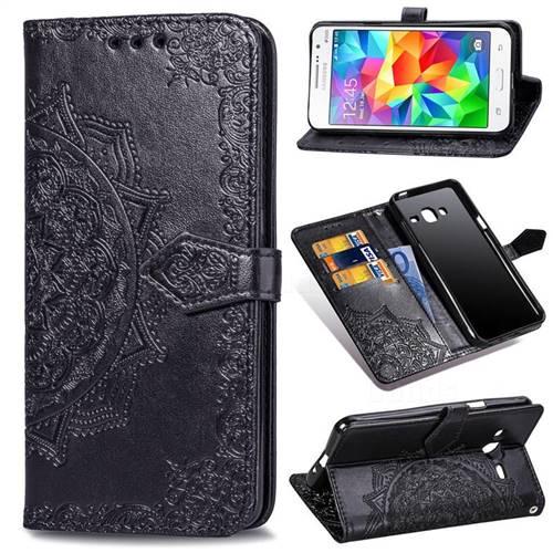 Embossing Imprint Mandala Flower Leather Wallet Case for Samsung Galaxy Grand Prime G530 - Black