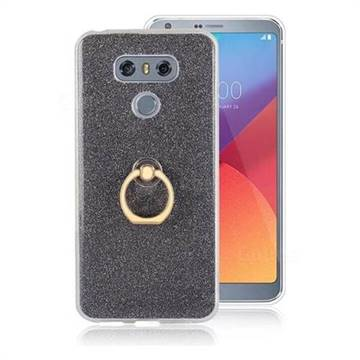 Luxury Soft TPU Glitter Back Ring Cover with 360 Rotate Finger Holder Buckle for LG G6 - Black