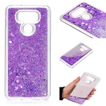 Glitter Sand Mirror Quicksand Dynamic Liquid Star TPU Case for LG G6 - Purple