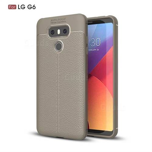 Luxury Auto Focus Litchi Texture Silicone TPU Back Cover for LG G6 - Gray