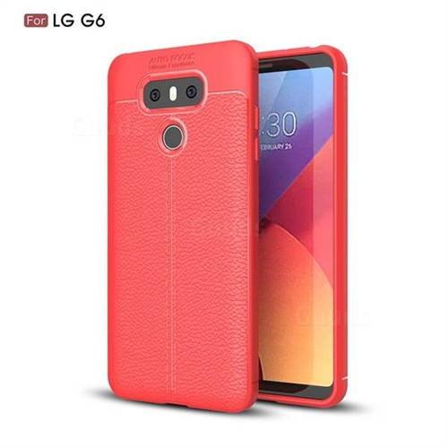 Luxury Auto Focus Litchi Texture Silicone TPU Back Cover for LG G6 - Red