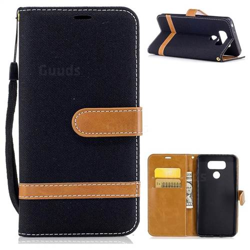Retro Jeans Cowboy Denim Leather Wallet Case for LG G6 - Black