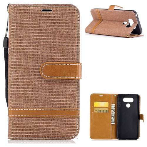 Jeans Cowboy Denim Leather Wallet Case for LG G6 - Brown