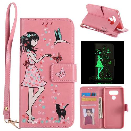 Luminous Flower Girl Cat Leather Wallet Case for LG G6 - Hot Pink