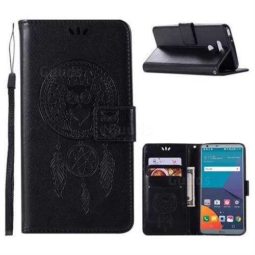 Intricate Embossing Owl Campanula Leather Wallet Case for LG G6 - Black