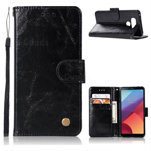 Luxury Retro Leather Wallet Case for LG G6 - Black