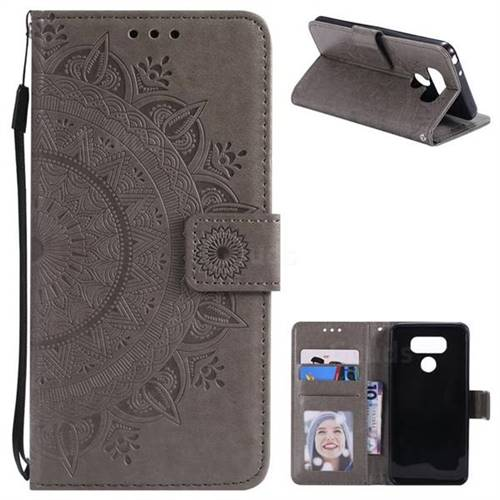 Intricate Embossing Datura Leather Wallet Case for LG G6 - Gray