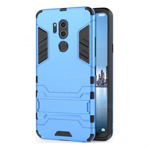 Armor Premium Tactical Grip Kickstand Shockproof Dual Layer Rugged Hard Cover for LG G7 ThinQ - Light Blue