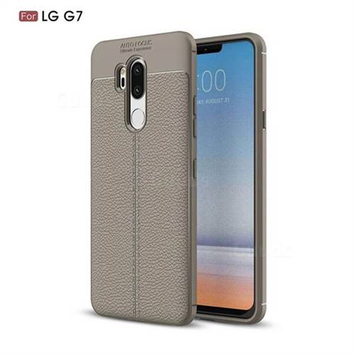 Luxury Auto Focus Litchi Texture Silicone TPU Back Cover for LG G7 ThinQ - Gray