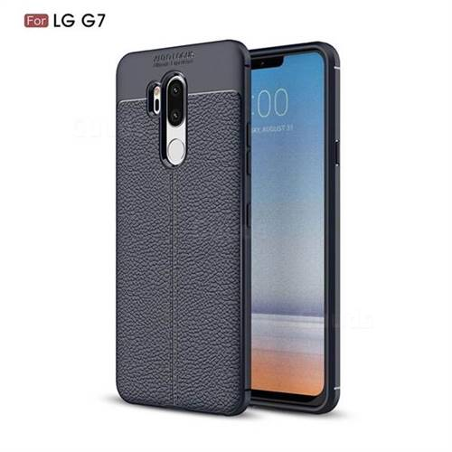 Luxury Auto Focus Litchi Texture Silicone TPU Back Cover for LG G7 ThinQ - Dark Blue