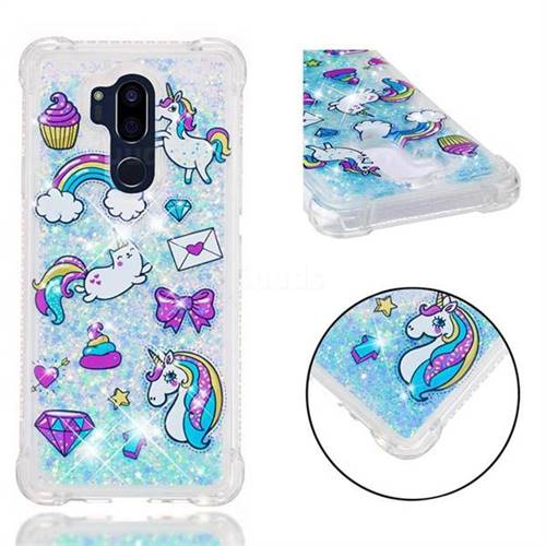 Fashion Unicorn Dynamic Liquid Glitter Sand Quicksand Star TPU Case for LG G7 ThinQ