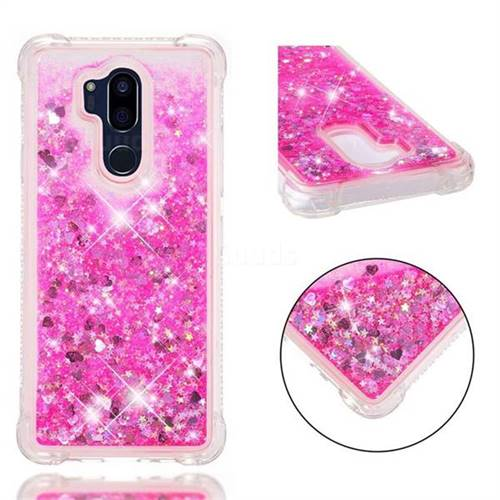 Dynamic Liquid Glitter Sand Quicksand TPU Case for LG G7 ThinQ - Pink Love Heart