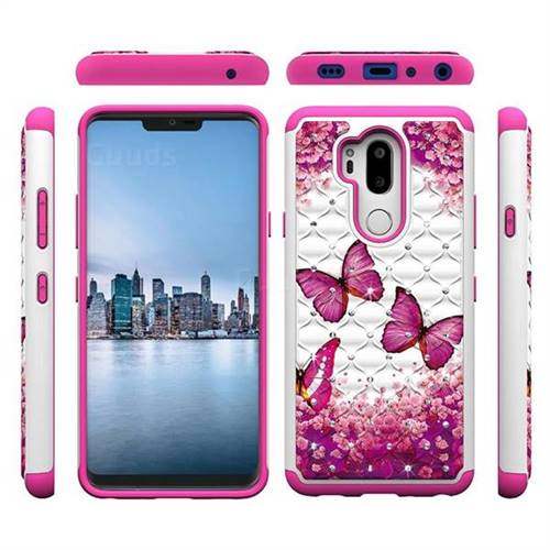 Rose Butterfly Studded Rhinestone Bling Diamond Shock Absorbing Hybrid Defender Rugged Phone Case Cover for LG G7 ThinQ