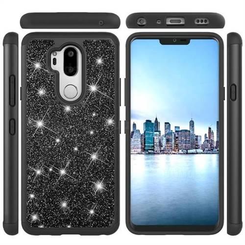Glitter Rhinestone Bling Shock Absorbing Hybrid Defender Rugged Phone Case Cover for LG G7 ThinQ - Black
