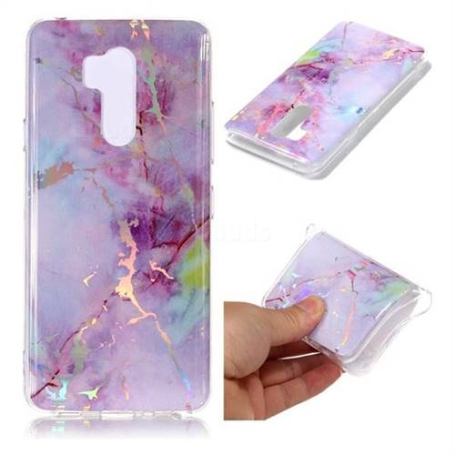 Pink Purple Marble Pattern Bright Color Laser Soft TPU Case for LG G7 ThinQ