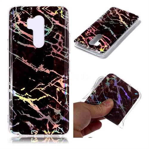 Black Brown Marble Pattern Bright Color Laser Soft TPU Case for LG G7 ThinQ