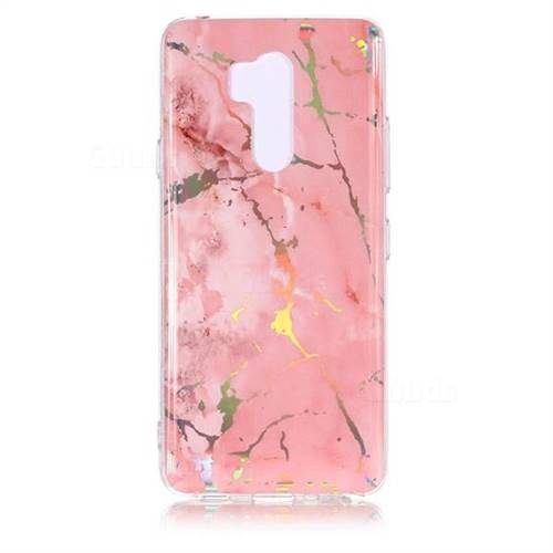 Powder Pink Marble Pattern Bright Color Laser Soft TPU Case for LG G7 ThinQ