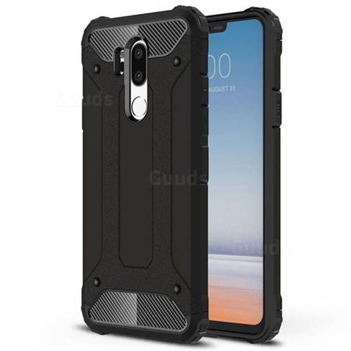 King Kong Armor Premium Shockproof Dual Layer Rugged Hard Cover for LG G7 ThinQ - Black Gold
