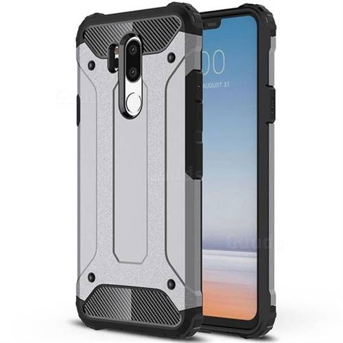 King Kong Armor Premium Shockproof Dual Layer Rugged Hard Cover for LG G7 ThinQ - Silver Grey