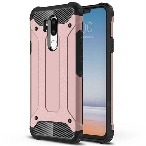 King Kong Armor Premium Shockproof Dual Layer Rugged Hard Cover for LG G7 ThinQ - Rose Gold