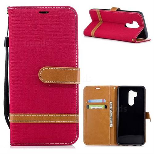 Jeans Cowboy Denim Leather Wallet Case for LG G7 ThinQ - Red