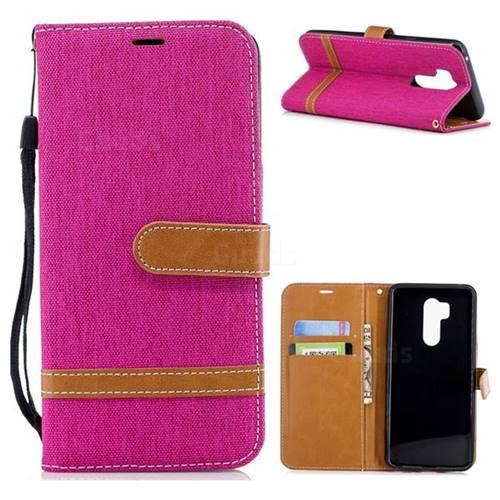 Jeans Cowboy Denim Leather Wallet Case for LG G7 ThinQ - Rose