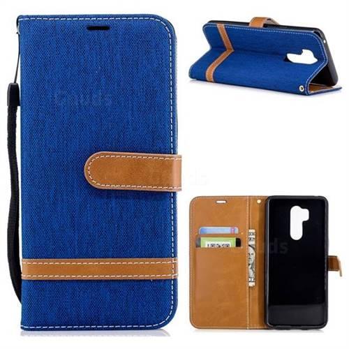 Jeans Cowboy Denim Leather Wallet Case for LG G7 ThinQ - Sapphire
