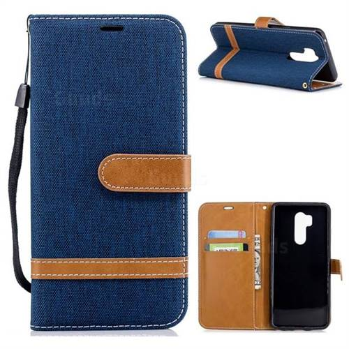 Jeans Cowboy Denim Leather Wallet Case for LG G7 ThinQ - Dark Blue