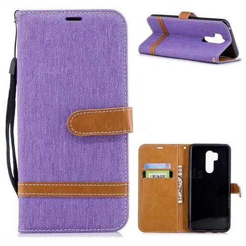 Jeans Cowboy Denim Leather Wallet Case for LG G7 ThinQ - Purple