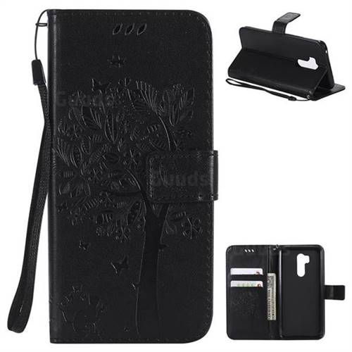 Embossing Butterfly Tree Leather Wallet Case for LG G7 ThinQ - Black