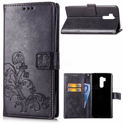 Embossing Imprint Four-Leaf Clover Leather Wallet Case for LG G7 ThinQ - Black