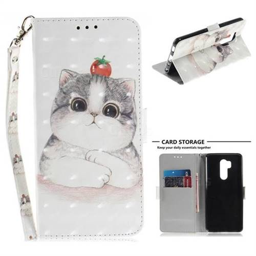 Cute Tomato Cat 3D Painted Leather Wallet Phone Case for LG G7 ThinQ
