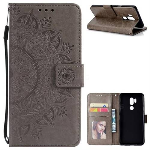 Intricate Embossing Datura Leather Wallet Case for LG G7 ThinQ - Gray