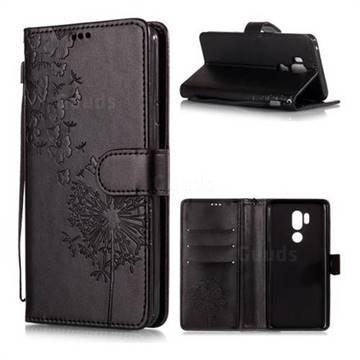 Intricate Embossing Dandelion Butterfly Leather Wallet Case for LG G7 ThinQ - Black