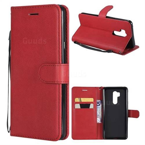Retro Greek Classic Smooth PU Leather Wallet Phone Case for LG G7 ThinQ - Red