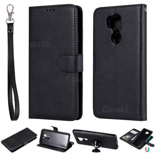 Retro Greek Detachable Magnetic PU Leather Wallet Phone Case for LG G7 ThinQ - Black