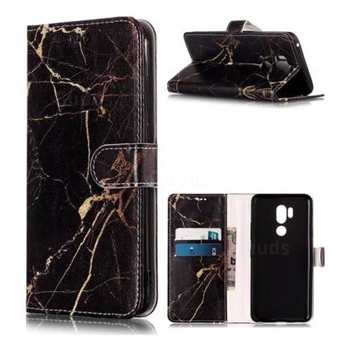 Black Gold Marble PU Leather Wallet Case for LG G7 ThinQ