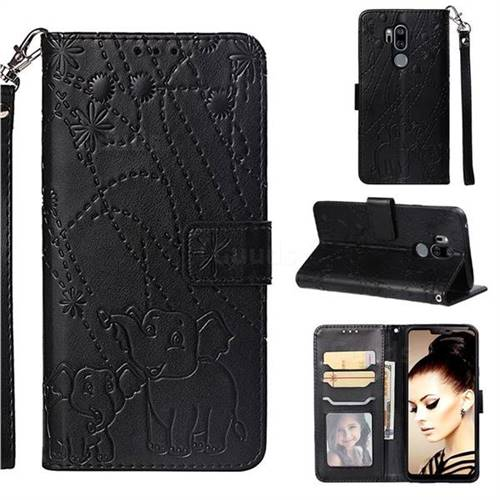 Embossing Fireworks Elephant Leather Wallet Case for LG G7 ThinQ - Black